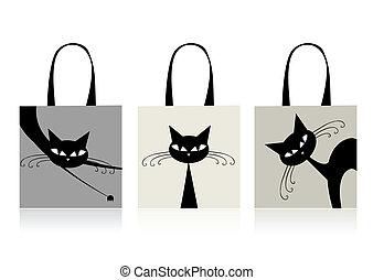 袋, 買い物, ネコ, デザイン, 優美である, 黒