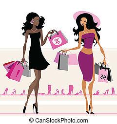 袋, 買い物, 女性