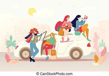 袋, 買い物, 自動車, 後で, 女の子, グループ