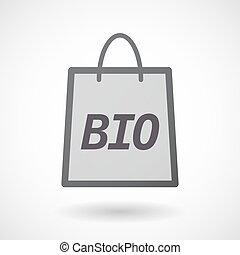 袋, 隔離された, 買い物, bio, テキスト