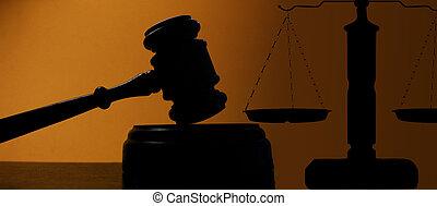 裁判官, 法廷, スケール, 正義, 小槌, シルエット