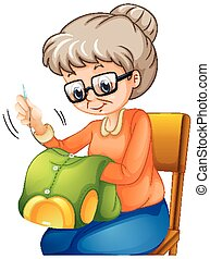 裁縫, 古い 女性, 衣服, 椅子