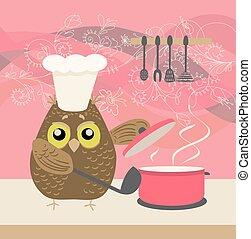 装飾用である, かわいい, フクロウ, 料理, 大声で叫びなさい, 背景, 花, 台所