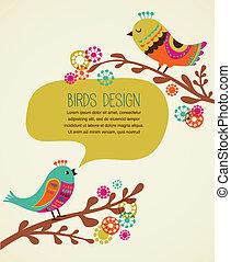 装飾用である, かわいい, 背景, カラフルである, 鳥