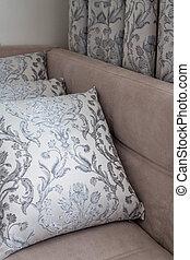 装飾用である, カーテン, 枕, 同じ, 生地