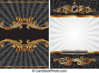 装飾用である, セット, 金, &, ベクトル, 黒, 贅沢, 背景