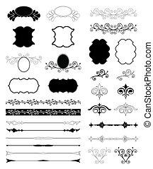 装飾用である, セット, elements., ベクトル, デザイン, 花