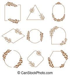 装飾用である, バッジ, 装飾用, ベクトル, セット, frames., 葉, 花輪, frame., フレーム, 花, ブランチ, バッジ, 花, 装飾, ミニマリスト, 紋章