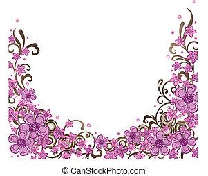 装飾用である, ピンク, ボーダー, 花