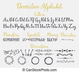 装飾用である, レタリング, alphabet., ブラシ
