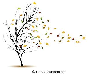 装飾用である, 木, ベクトル, シルエット