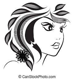 装飾用である, 花の意匠, ファッション, illustration., 抽象的, バックグラウンド。, 手, ベクトル, 芸術, silhouette., ヘアスタイル, 創造的, インク, 線, 白, design., 顔, portrait., 引かれる, 芸術的, 女