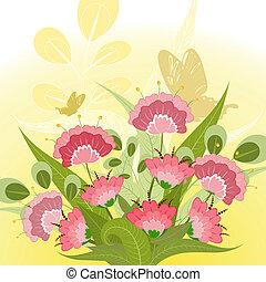 装飾用である, 花束, 蝶, 花, ロマンチック