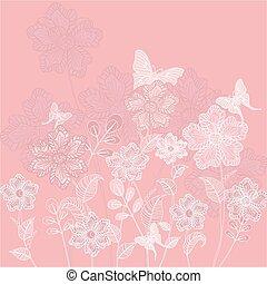 装飾用である, 花, 蝶, ロマンチック, 背景