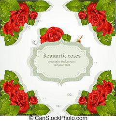 装飾用である, 赤いバラ, テキスト, 背景, あなたの
