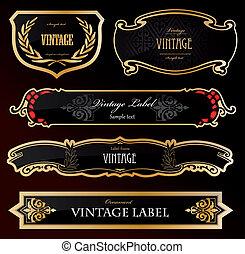 装飾用である, 金, ラベル, 黒, ベクトル