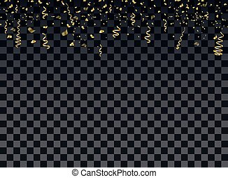 装飾用である, 金, 隔離された, celebrations., 微片, バックグラウンド。, 記念日, ベクトル, イラスト, ribbons., 紙ふぶき, 新しい, 装飾, 年, クリスマス