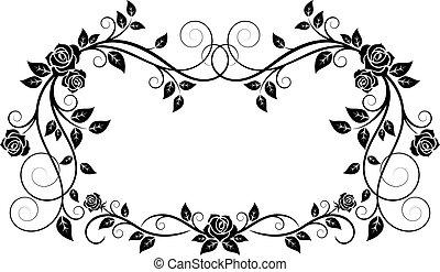 装飾用, フレーム, 花, バラ