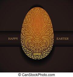 装飾用, 金, greeting., イースター, egg., 休日, 旗, 幸せ