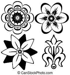 装飾的な 要素, (vector), 型, デザイン, 花