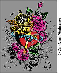 装飾, 心, flores, 皇族