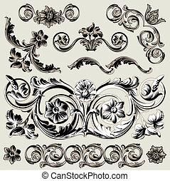 装飾, 花, セット, 要素, クラシック