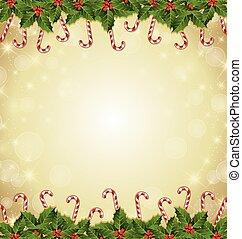 装飾, 西洋ヒイラギ, 茎, クリスマス, キャンデー