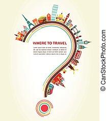 要素, アイコン, 観光事業, クエスチョンマーク, 旅行, どこ(で・に)か