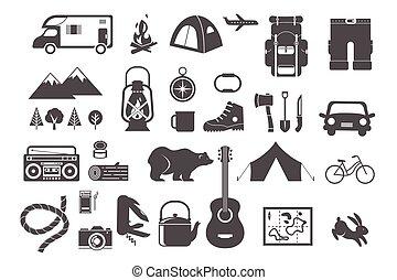 要素, キャンプ, アイコン, ハイキング, -, セット