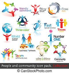 要素, ビジネス 人々, icons., ベクトル, デザイン, 共同体, 3d