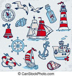 要素, -, ベクトル, デザイン, 海, 海事, スクラップブック