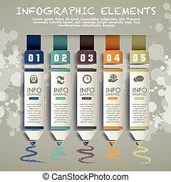 要素, 図表ペーパー, 創造的, 鉛筆, infographic, バー