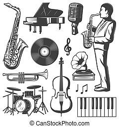 要素, 型, ジャズ 音楽, コレクション