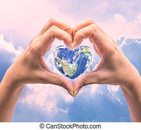 要素, 形, イメージ, 人間, 上に, 世界, 健康, 心, background:, 自然, これ, 日, 女性, 供給される, nasa, 手, ぼんやりさせられた