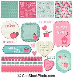 要素, 愛, -, 招待, ベクトル, デザイン, 挨拶, スクラップブック, セット, カード