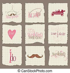 要素, 愛, 招待, -for, ベクトル, デザイン, ペーパー, 結婚式, スクラップブック
