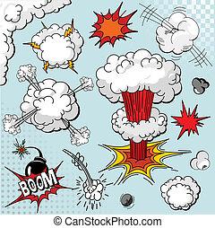 要素, 本, 爆発, 漫画