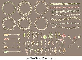 要素, 羽, 仕切り, 手, 矢, 型, 花, 引かれる