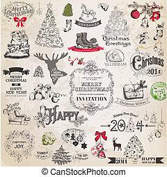 要素, 装飾, calligraphic, ベクトル, デザイン, 型, フレーム, クリスマス, set:, ページ