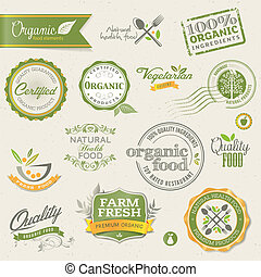 要素, 食物, 有機体である, ラベル
