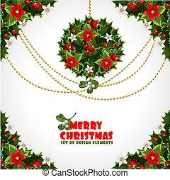 要素, misc, セット, クリスマス, デザイン