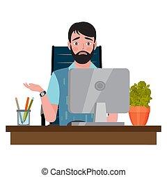 見る, オフィス椅子, 人間が座る, 混乱, 机, コンピュータモニター