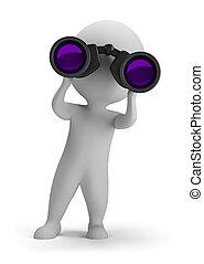 見る, 人々, -, 双眼鏡, によって, 小さい, 3d