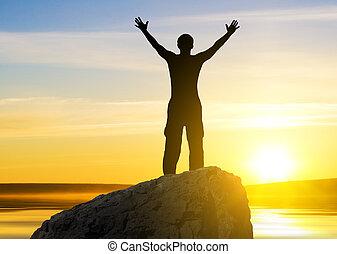 見る, 太陽, 人, 離れて, シルエット