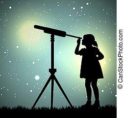 見る, 女の子, によって, 望遠鏡