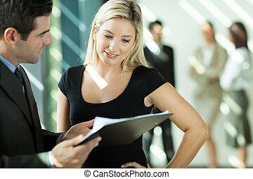 見る, 女性実業家, 文書, ビジネスマン