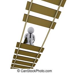 見る, 橋, 傷つけられる, 下方に, ビジネスマン