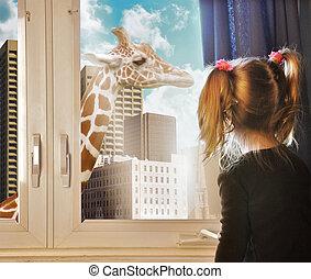 見る, 窓, キリン, 夢, 子供