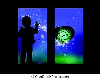 見る, 窓, 子供, から, スペース