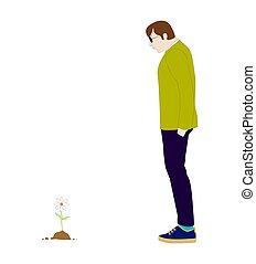 見る, 花, 人